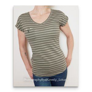 Maurices Olive Green Striped One Pocket T Shirt